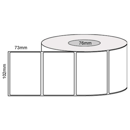 102mm x 73mm - White Thermal Transfer Removable Labels, 76mm core, (2000/roll)