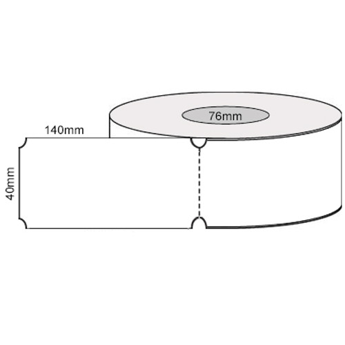40mm x 140mm - White Direct Thermal W/Wor Reg Slot Perforated Tags, 76mm, (1000/roll) - L20610