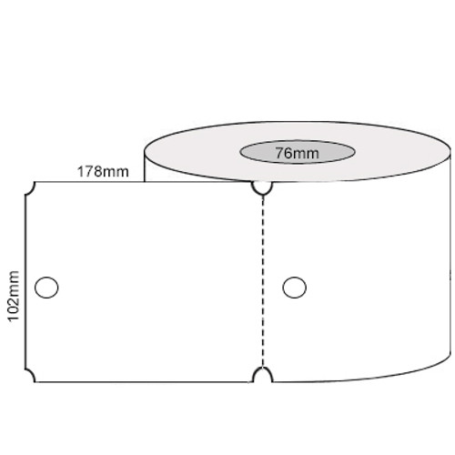 102mm x 178mm - White Hole Punched Perforated Tags, 76mm core, (500/roll) - L17575
