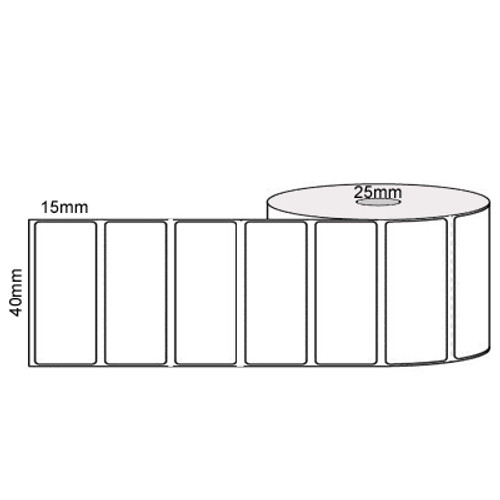 40mm x 15mm - 25mm core - 2000/roll - PERMANENT - Thermal transfer