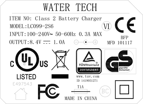 LC099-2S6 -Wall Product Charger for Aqua Broom Sweep XL, Speed Vac Turbo, Eclipse,  iVac 250 Li, Catfish Li, and Centennial Li