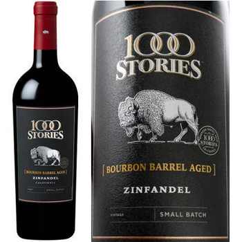 1,000 Stories Bourbon barrel-aged Zinfandel is a harmonious balance of Zinfandel grapes from Mendocino and Sonoma counties which are bursting with aromatic red fruit scents and complex black fruit flavors. A touch of Petite Sirah and Syrah enhance those flavors even more with bold black and white pepper spices. The batch is then rounded out with a layer of smokiness derived from the new bourbon barrel aging.