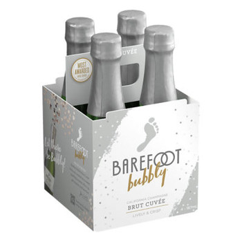 Barefoot Bubbly Brut 187ml 4 Pack