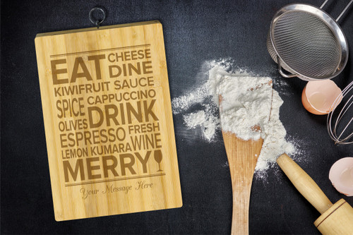 Personalised Chopping Board Standard - Food words - Your message