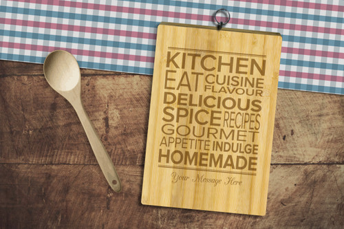 Personalised Chopping Board Standard - Kitchen words - Your message.