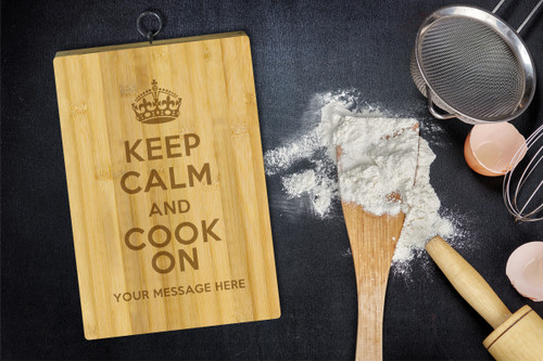 Personalised Chopping Board Standard - Keep Calm Cook On - Your Message