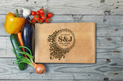 Personalised Chopping Board Premium - Couples - Floral 2