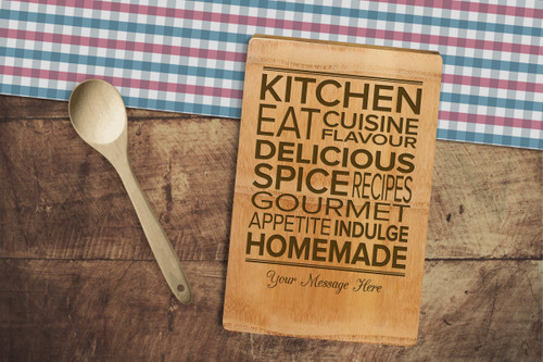Personalised Chopping Board Premium - Kitchen words - Your message.
