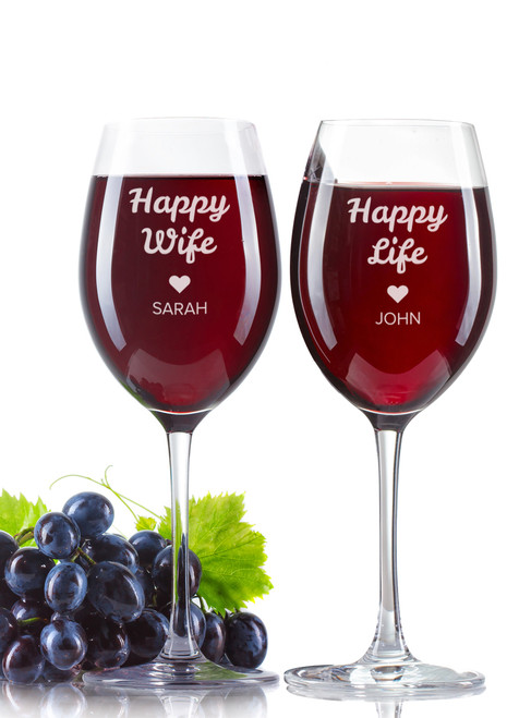 Personalised Wine Glass - Double set - Happy couple.
