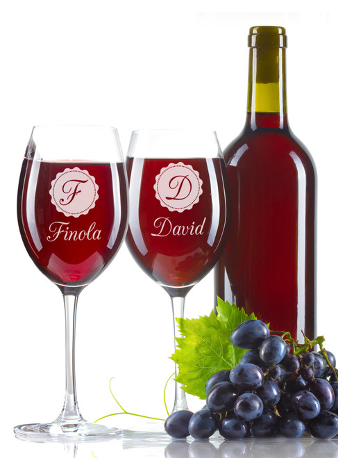 Personalised Wine Glass - Double set - Label.