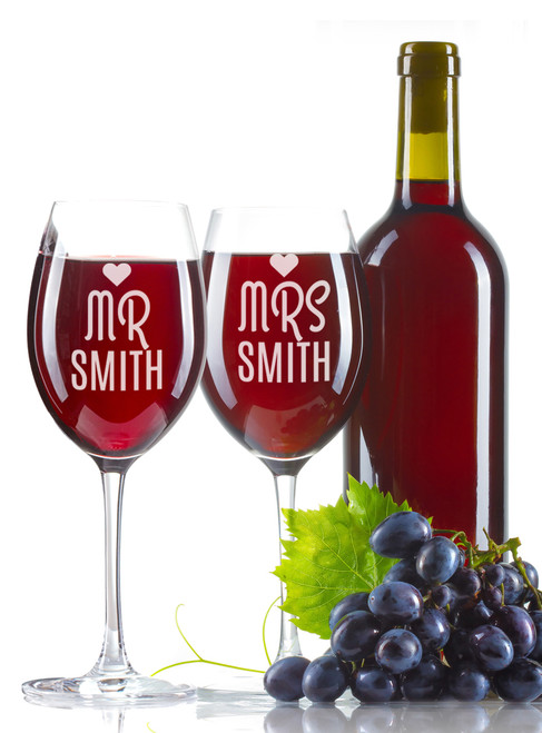 Personalised Wine Glass - Double set - Mr & Mrs with heart