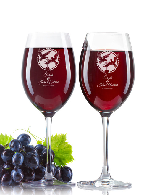 Personalised Wine Glass - Double set - Two Doves.