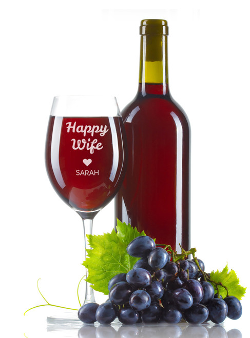 Personalised Wine Glass - Happy Wife