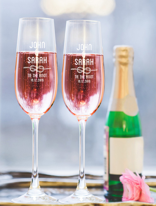 Personalised Champagne Glass - Double set - Tie the Knot.