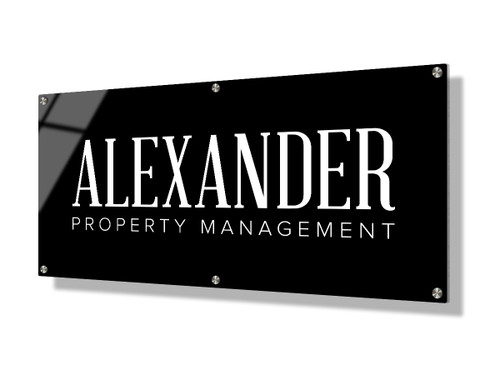 Business sign 30x60cm - Classic white on black