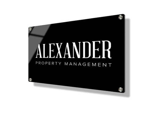 Business sign 15x20cm - Classic white on black