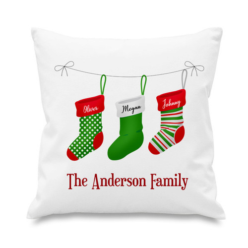 Cushion cover - Christmas stockings - 3 names