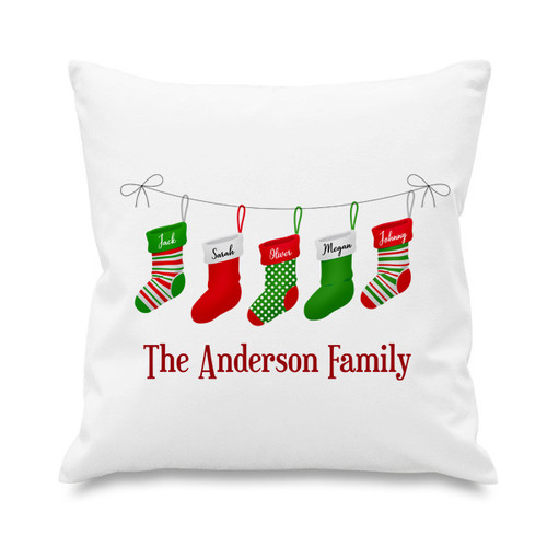 Cushion cover - Christmas stockings - 5 names