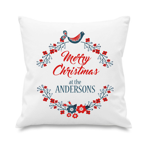 Cushion cover - Christmas Wreath & Bird
