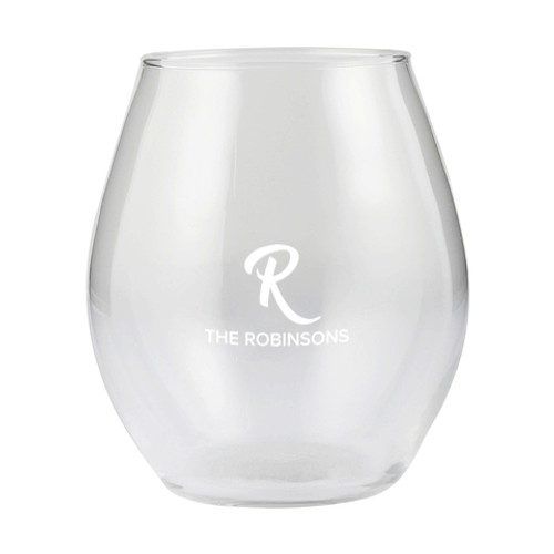 Personalised Stemless Wine Glass - Initial & Name