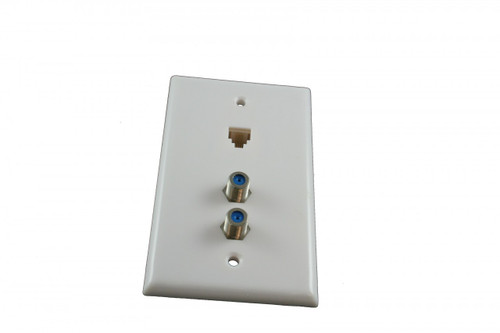 1 Gang White Flush Plate w/ 4C Phone and (2) 3 Ghz Barrell Connectors (CA-1071)