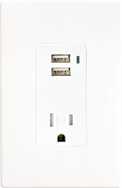 Combination USB Charger with Tamper Resistant Receptacle (TR7740W)
