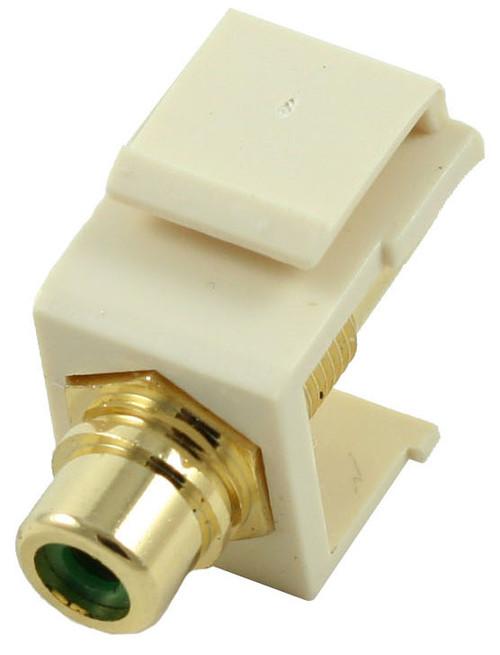 Almond RCA Modular Keystone Jack with Green Insert (CA-2209-G-AL)
