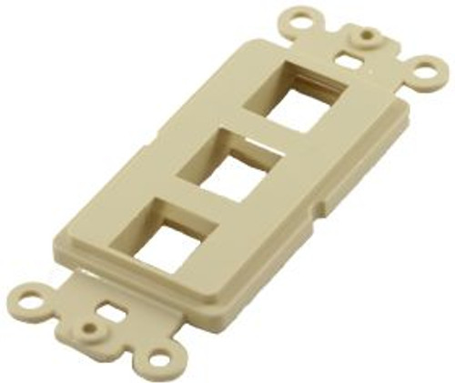 3 Port Ivory Decorator Keystone Wall Plate (TA-1103IV)