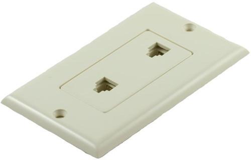 4 Conductor Duplex Decorator Almond Telephone Plate (TA-1145)