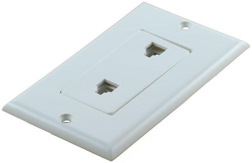 4 Conductor Duplex Decorator White Telephone Plate (TA-1140)
