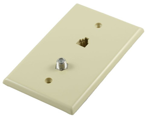 Combination 4 Conductor Telephone/Coax Midsize Ivory Plate (CA-1050)