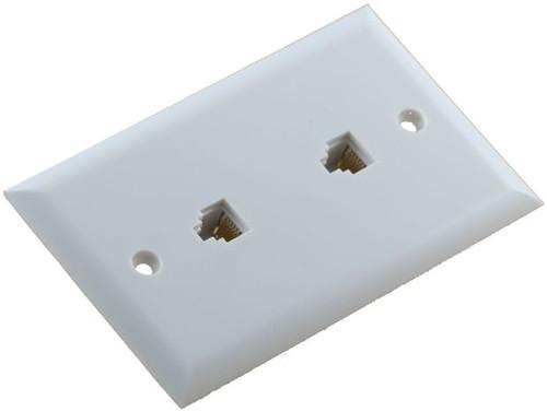 6 Conductor Duplex Flush Mount White Telephone Plate (TA-2035)