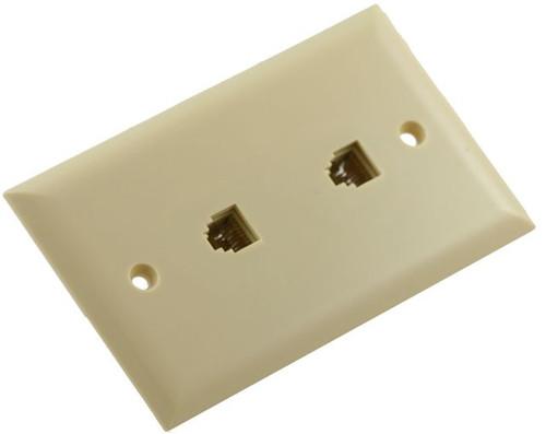 6 Conductor Duplex Flush Mount Ivory Telephone Plate (TA-2030)