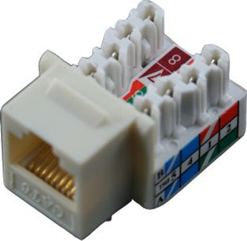 Cat 6 RJ45 110 Type 90 Keystone - White (TA-1076WH)