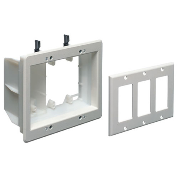 Triple Gang Recessed Combination Power and Low Voltage Box White (TVBU507)