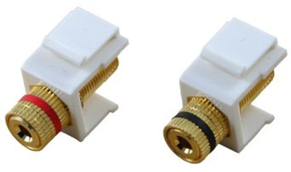 White Binding Post Keystone Module - Pair (CA-2131WH)