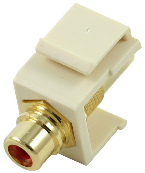 Almond RCA Modular Keystone Jack with Red Insert (CA-2209-R-AL)