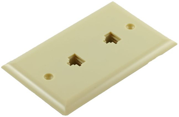 8 Conductor Duplex Flush Mount Ivory Telephone Plate (TA-2040)
