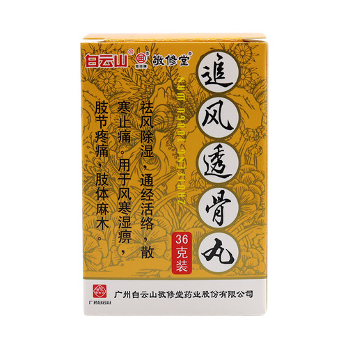 BAIYUNSHAN ZHUIFENG TOUGU WAN For Pain Medication 36 Pills