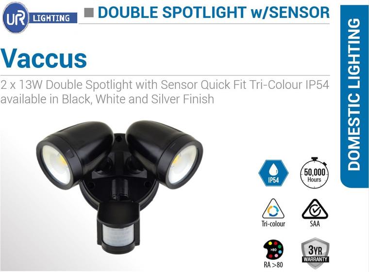 2 x 13W Double Spotlight with Sensor Quick Fit Tri-Colour IP54 Black