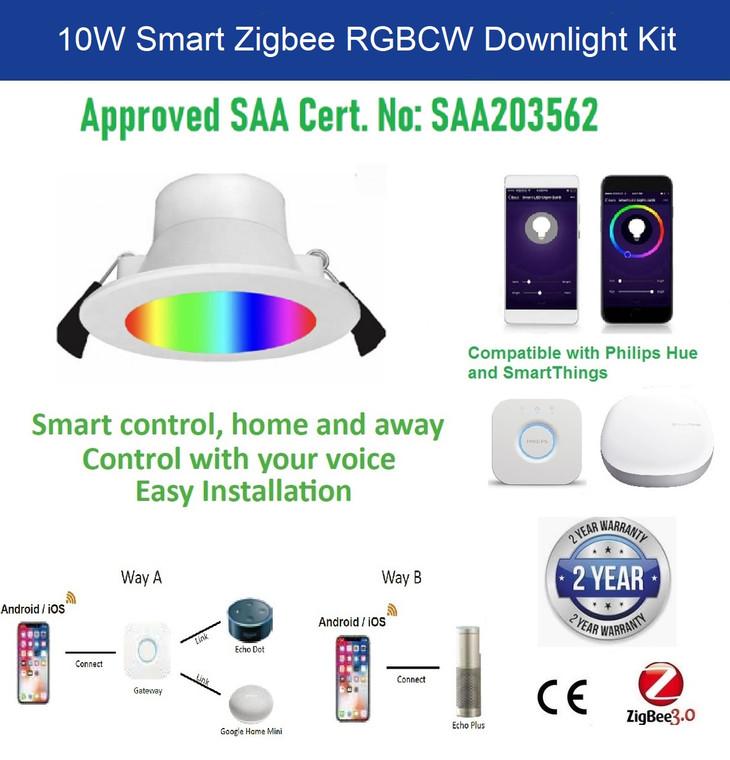 10W 90mm Smart ZigBee RGB CW LED Downlight Kit for Echo Plus SmartThings Hub Hue ConBee II TUYA HUB