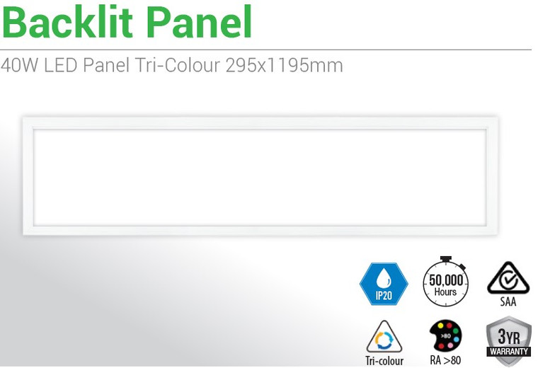 6 X 40W LED Panel T Bar Troffer Tri Colour (1195*295mm)