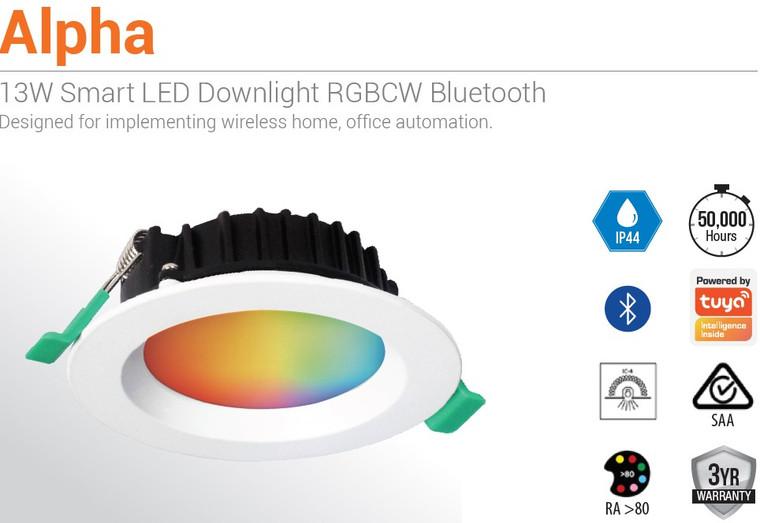 13W Smart Bluetooth RGB + 2700-6500K LED Downlight - NO HUB REQUIRED