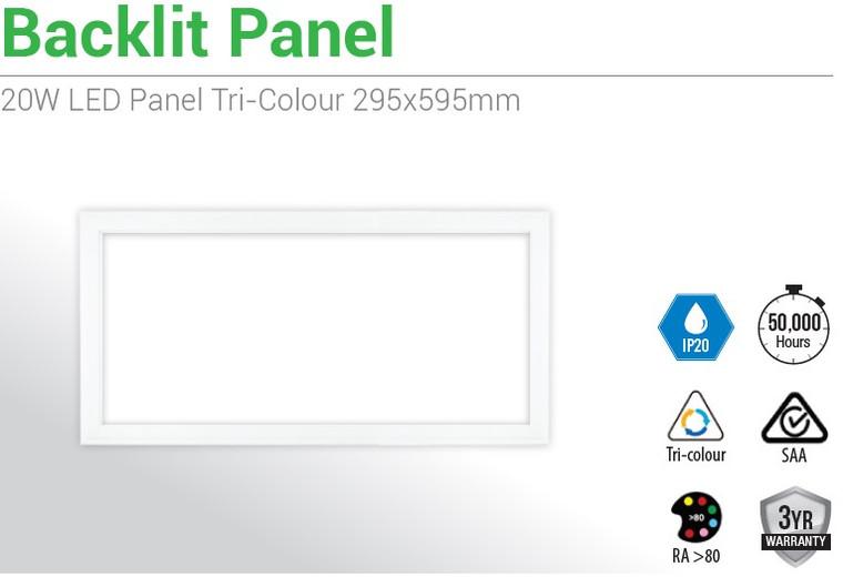 6 X 20W LED Panel T Bar Troffer Tri Colour (295x595mm)