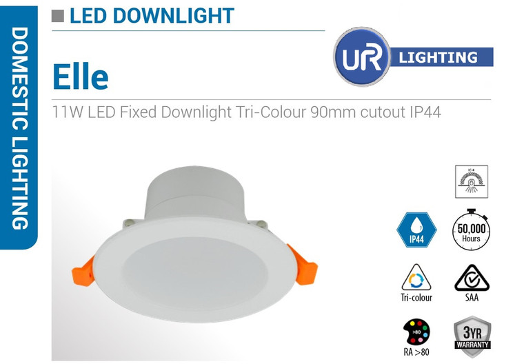 11W LED Fixed Downlight Tri-Colour 90mm cutout IP44