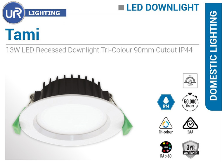 13W LED Recessed Downlight Tri-Colour 90mm Cutout IP44