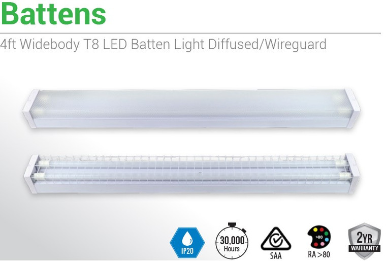 4 X 4ft LED Batten Diffused/ Wiregaurd 1200MM