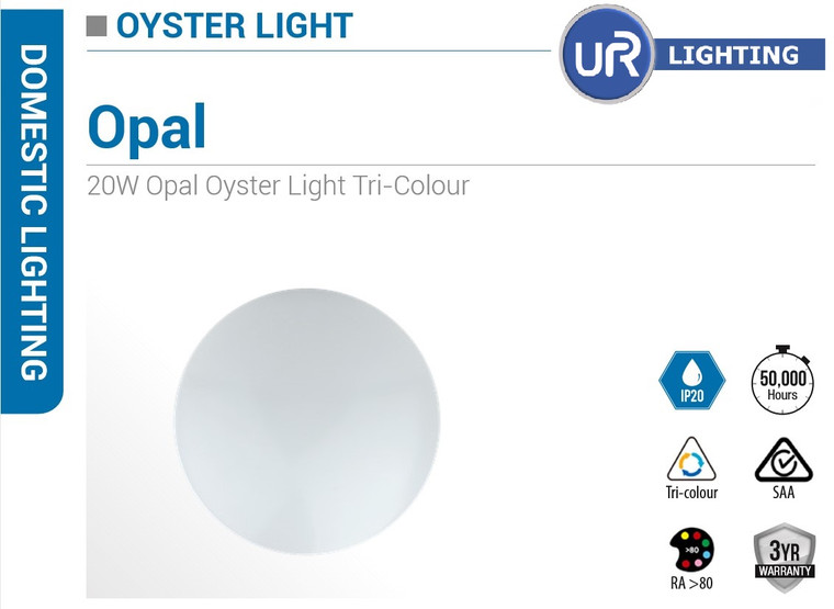 20 W LED Oyster Tricolour Light 300MM