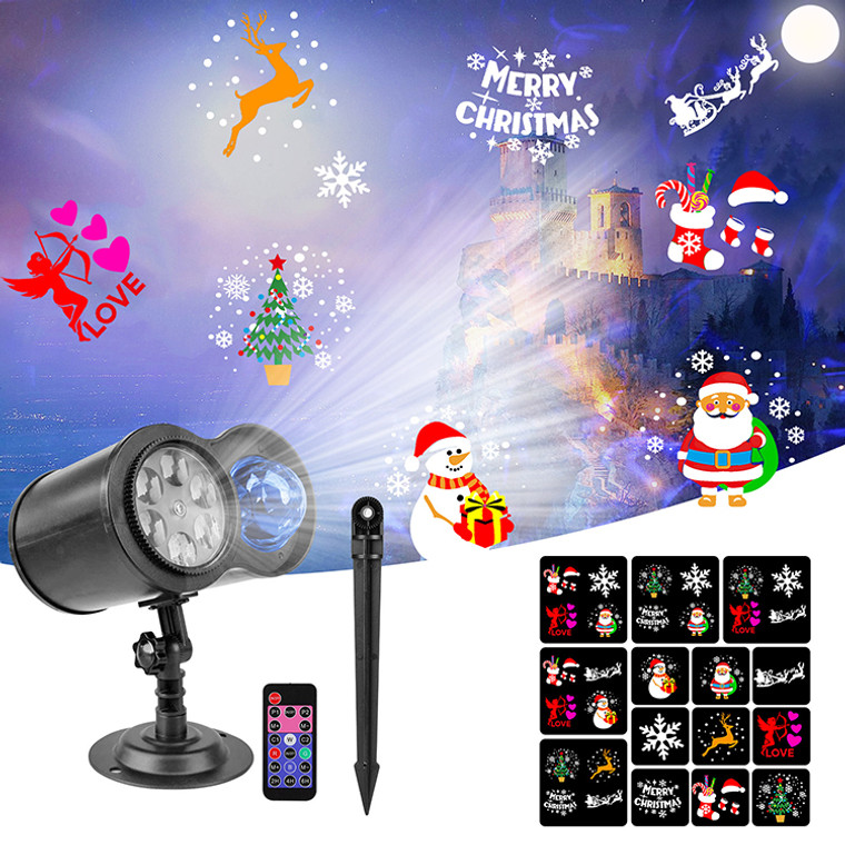 12 slides Christmas decoration projector laser lamp Santa Claus Holiday gift led