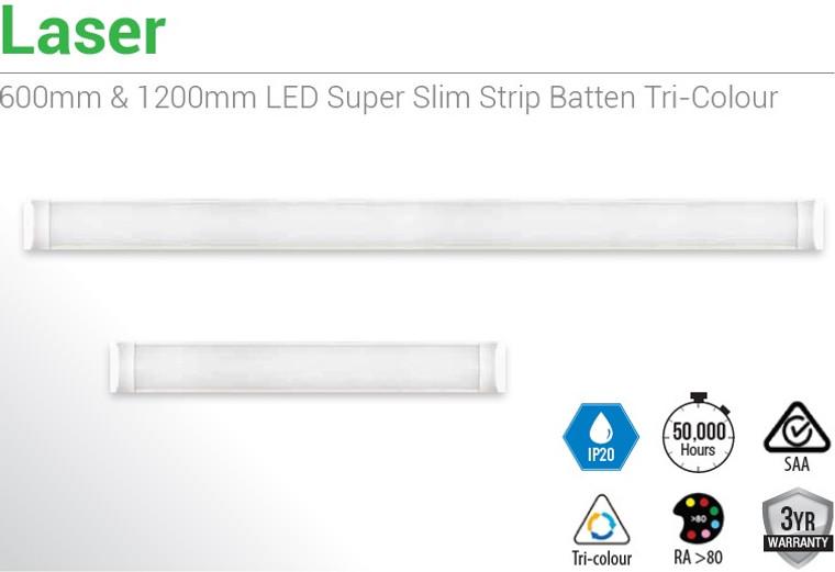 10 X SLIMLINE BATTEN 1200mm LED Super Slim Strip Batten Tri-Colour